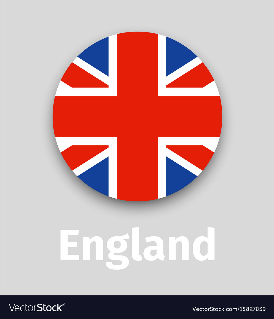 England flag round icon with shadow