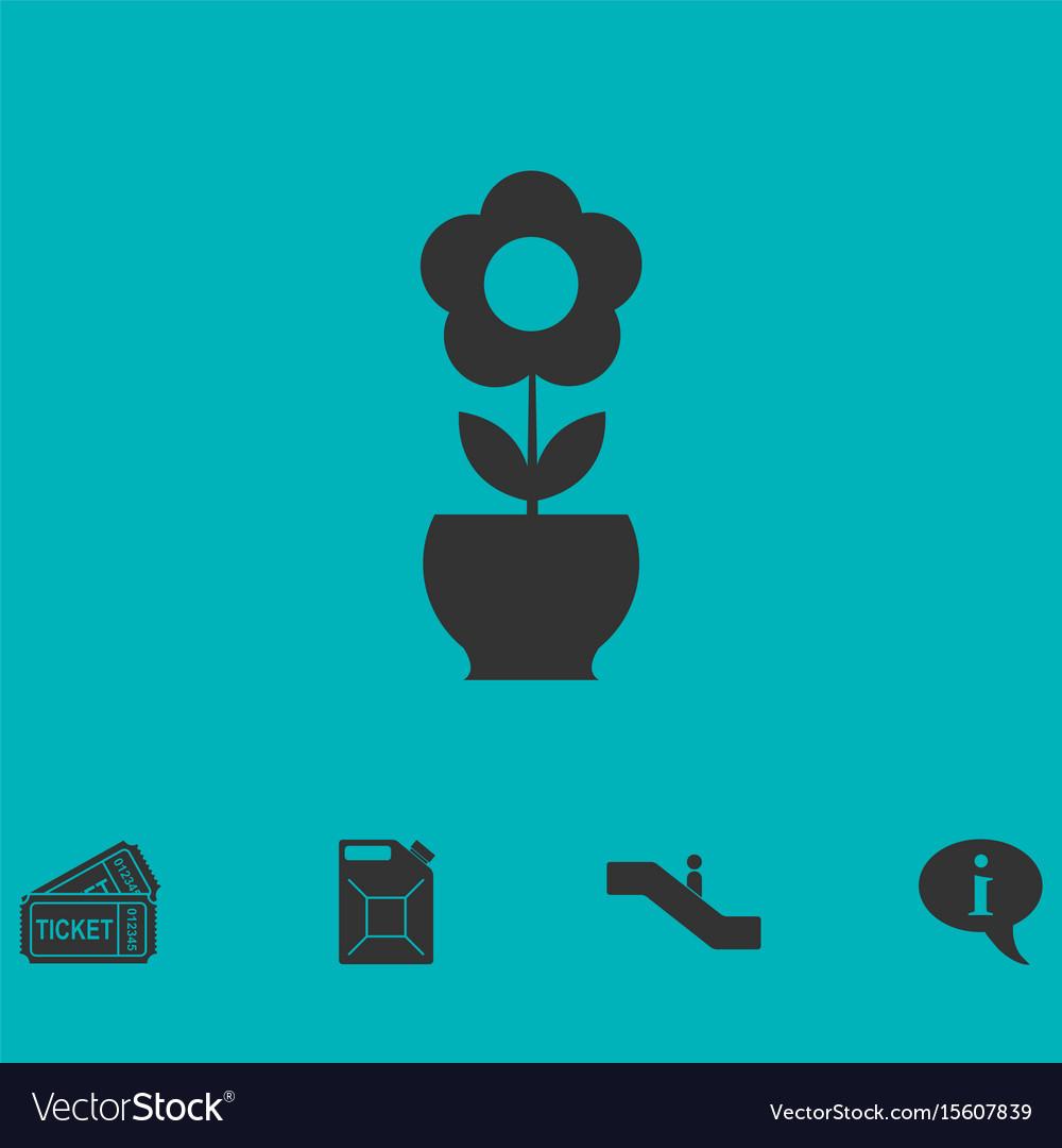 Flower pot icon flat