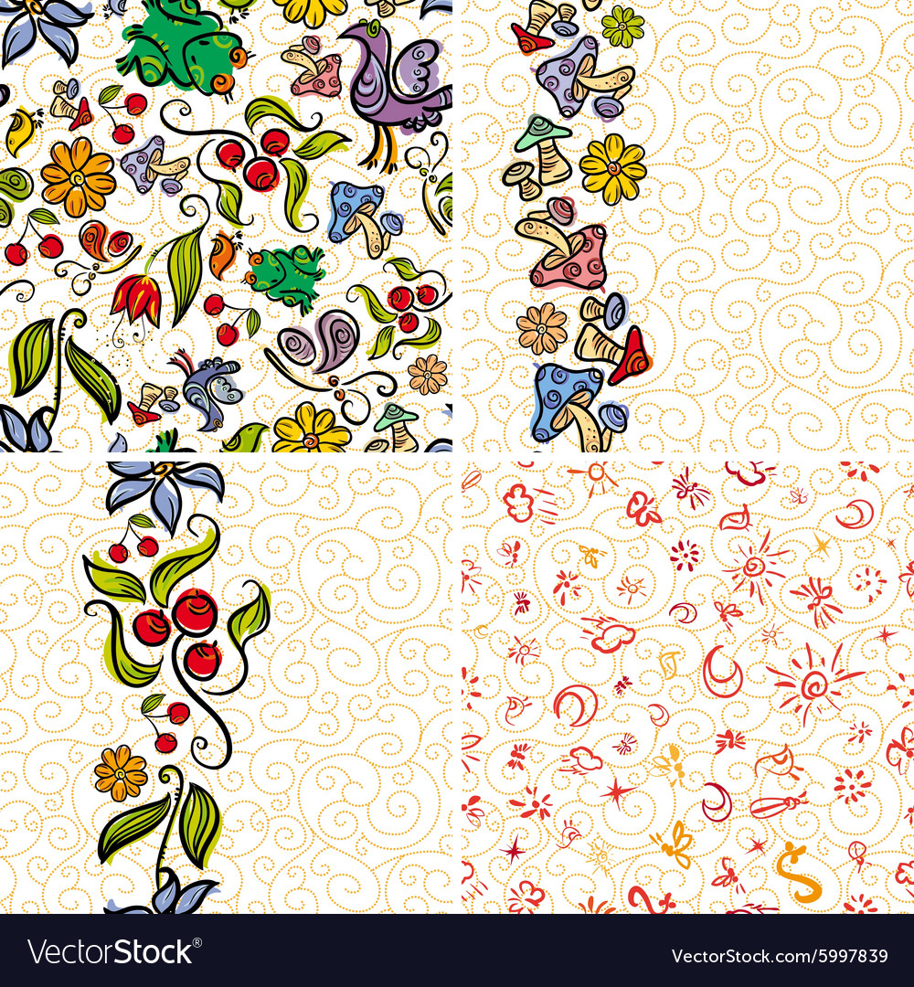 Four Forest Doodle Patterns vector image