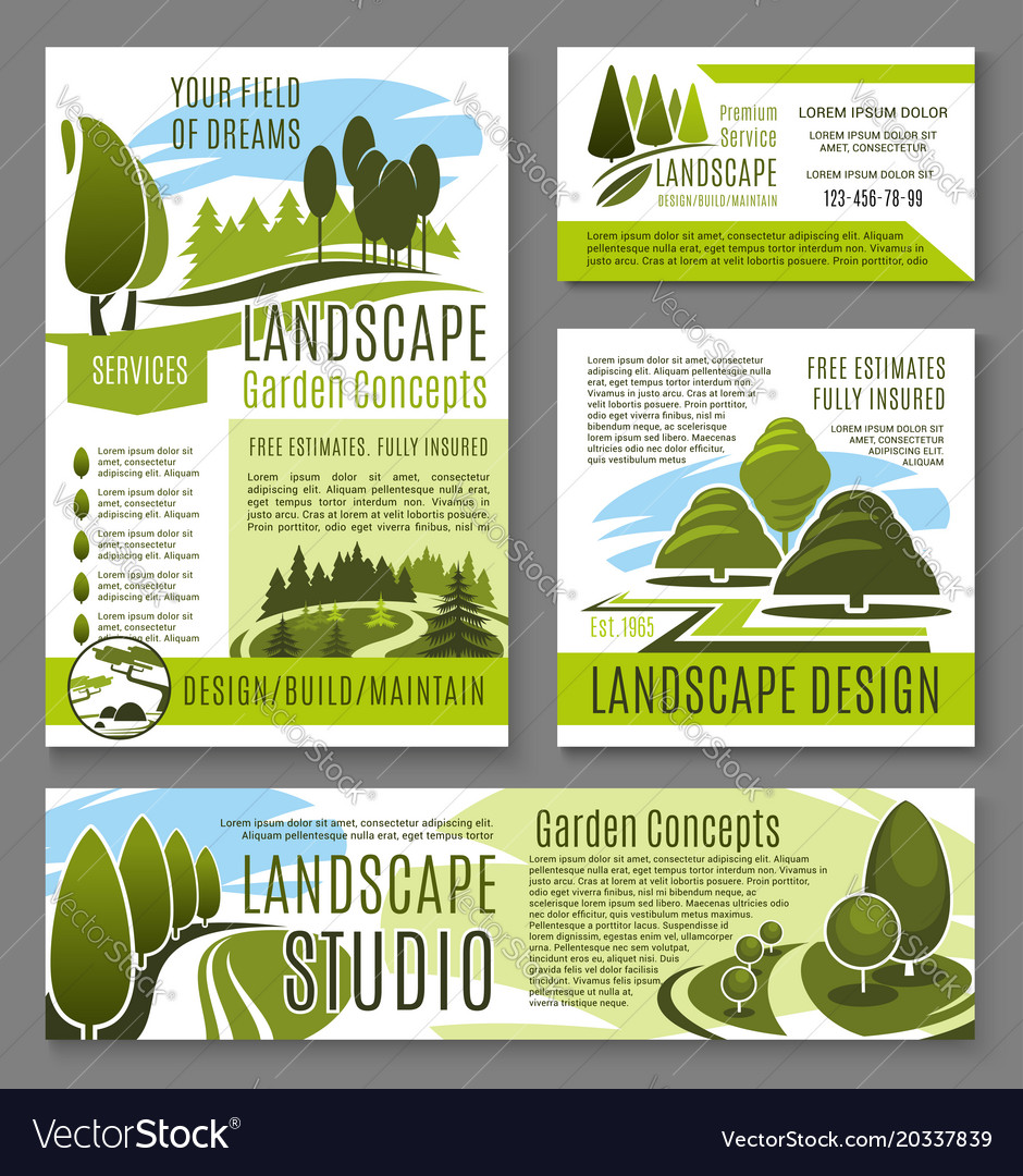 Landscape Garden Design Concept Posters Royalty Free Vector