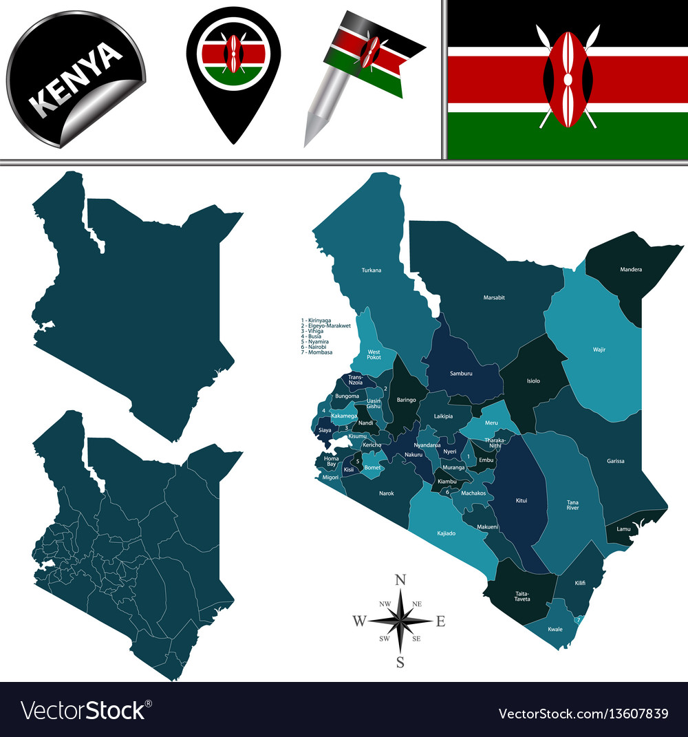 Map of kenya with named counties vector image