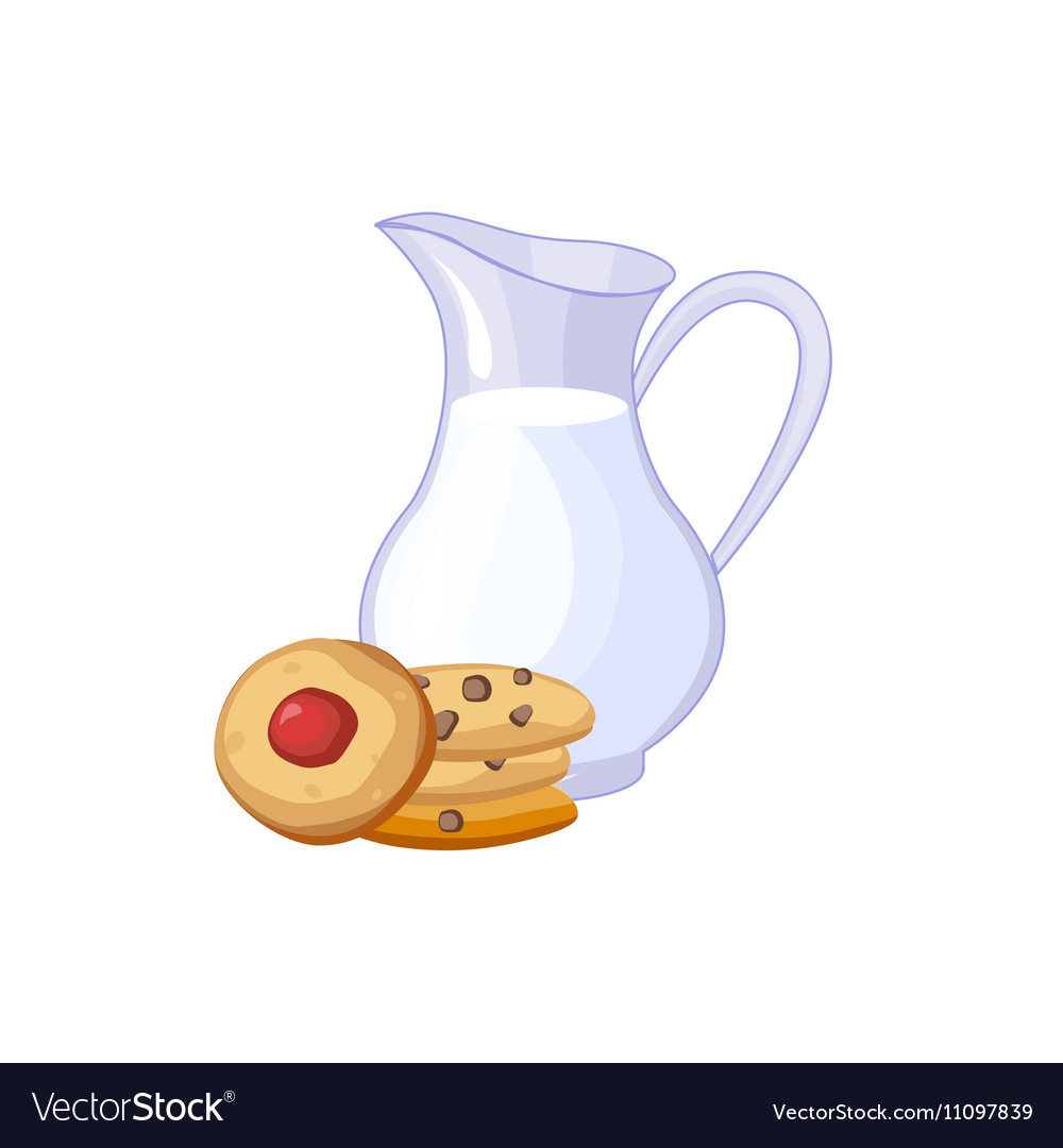 Milk And Cookies Breakfast Food Element Isolated vector image