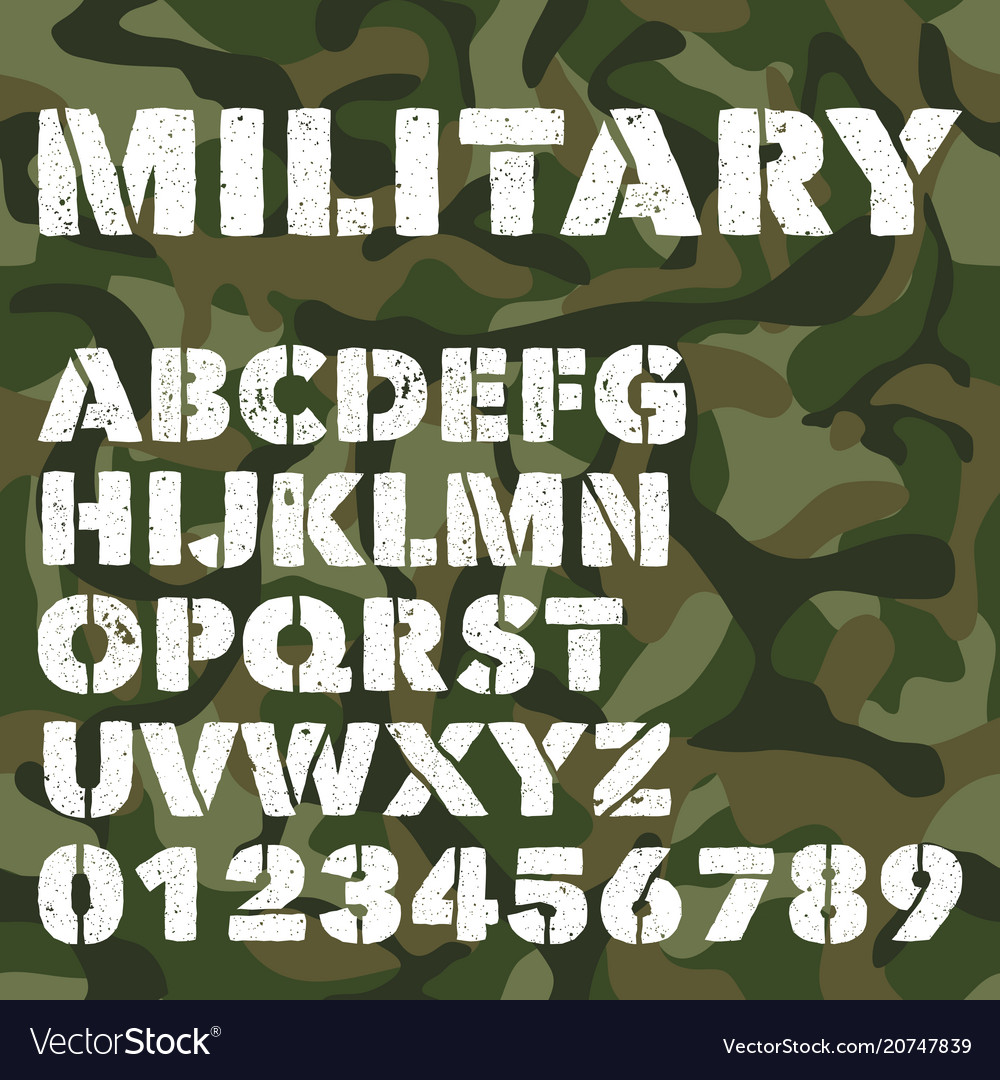 Old military alphabet bold letters and numbers on vector image