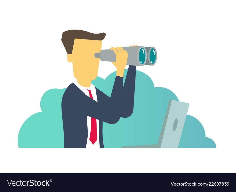 Person man looking through binoculars business