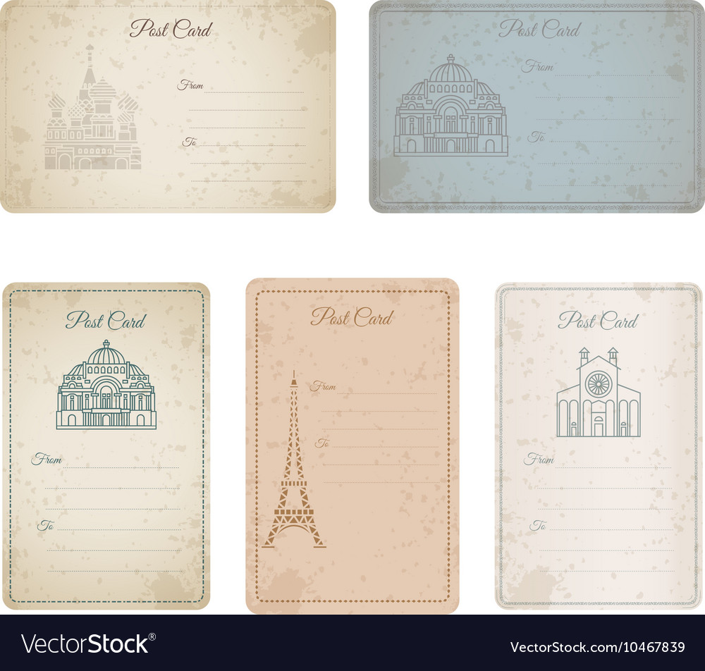Postcard grunge vintage card collection
