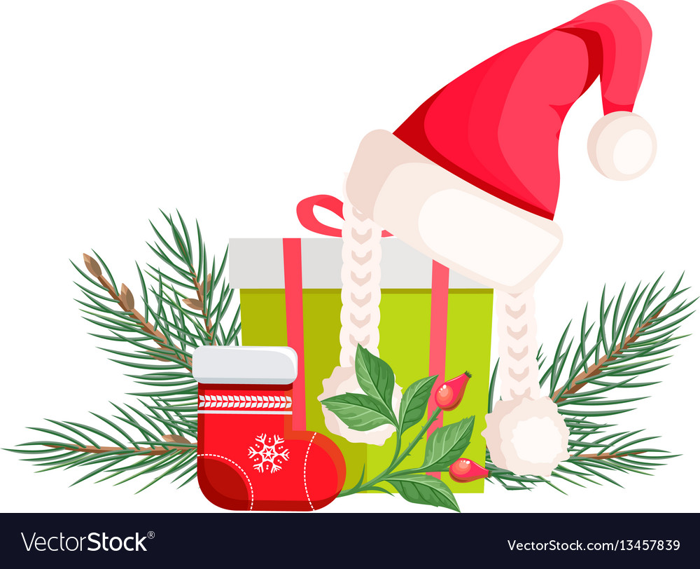 Santa claus hat lying on gift bow with red ribbon
