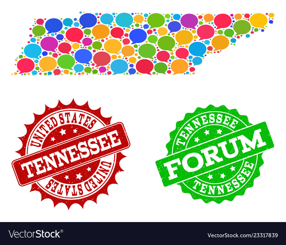 Social Network Map Of Tennessee State With Speech Vector Image
