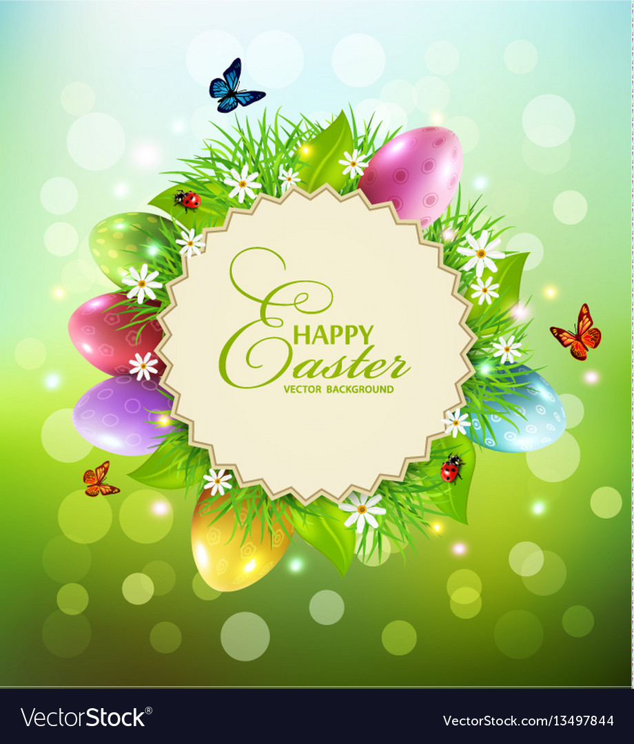 Background for easter with a round card for text