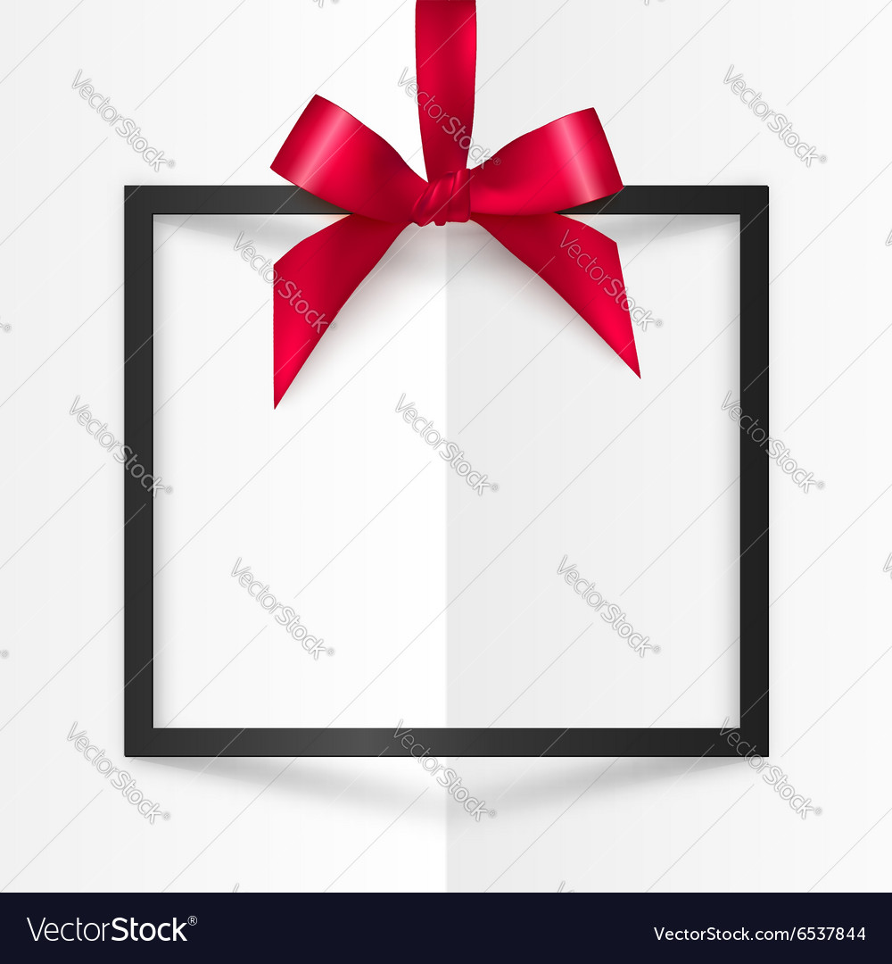 Black gift box frame with red silky bow and ribbon