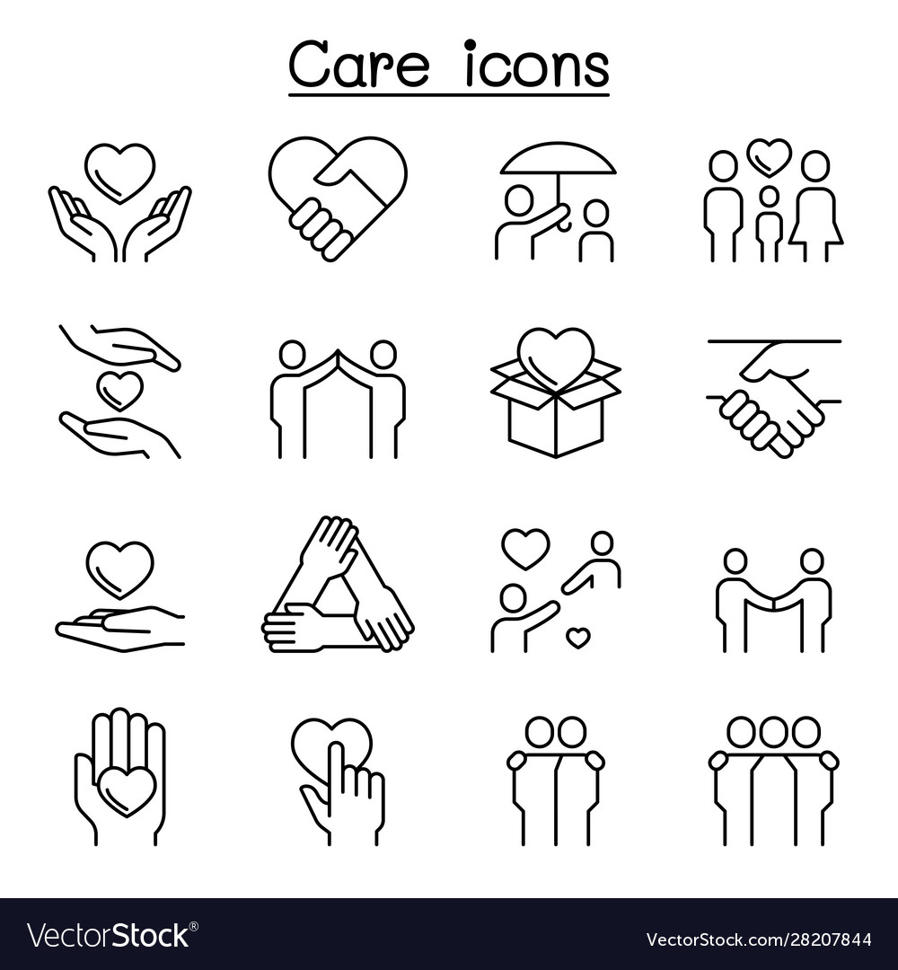 Care kindness generous icon set in thin line style