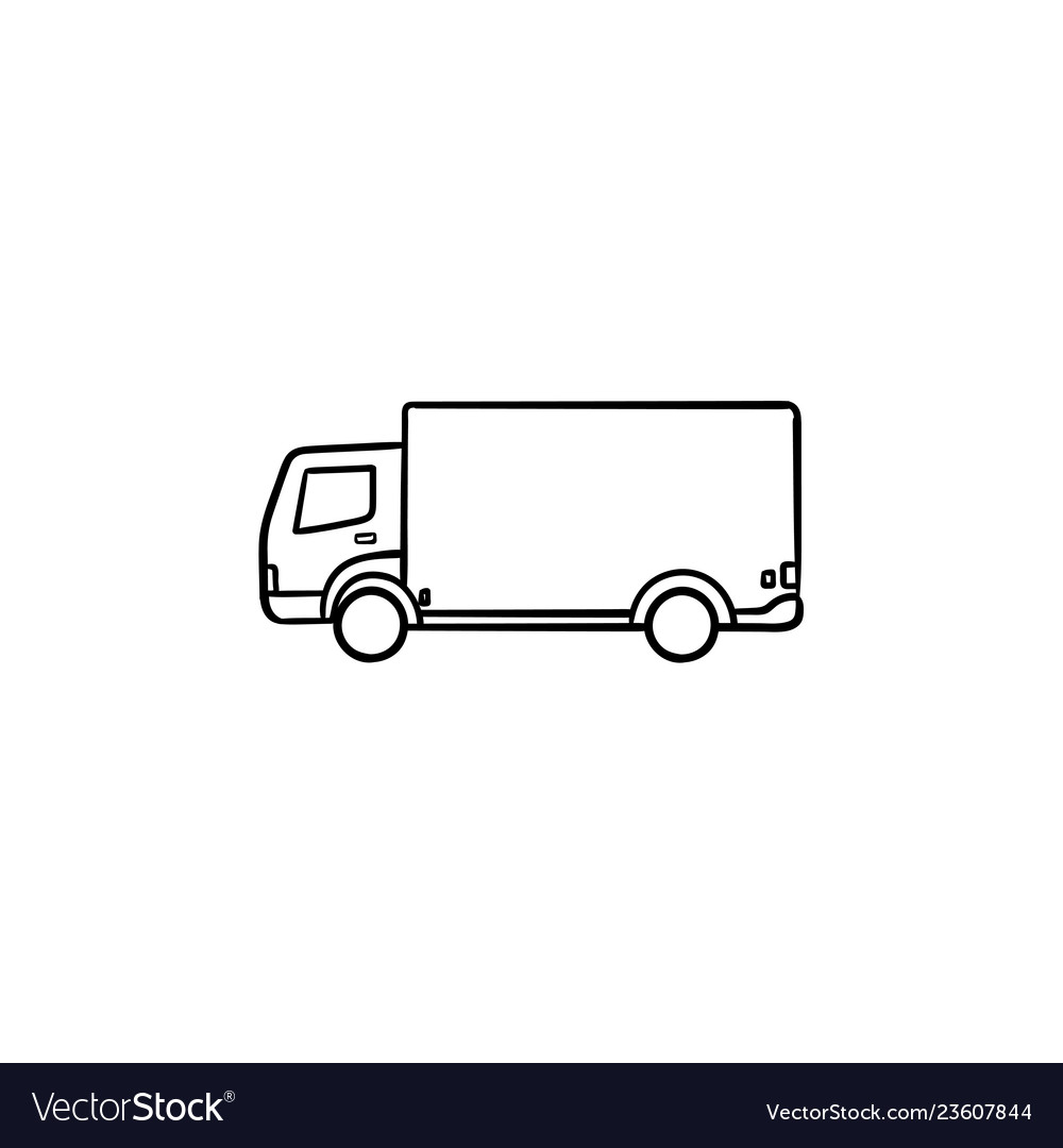 Delivery truck hand drawn outline doodle icon