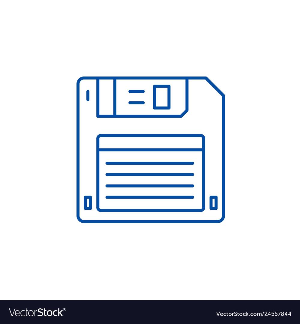 Diskette line icon concept diskette flat