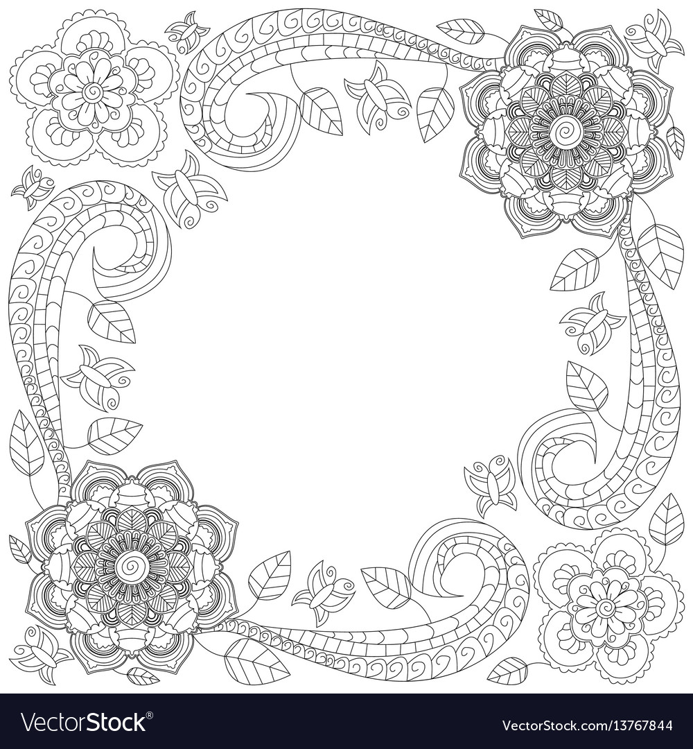 flower frame coloring book royalty free vector image