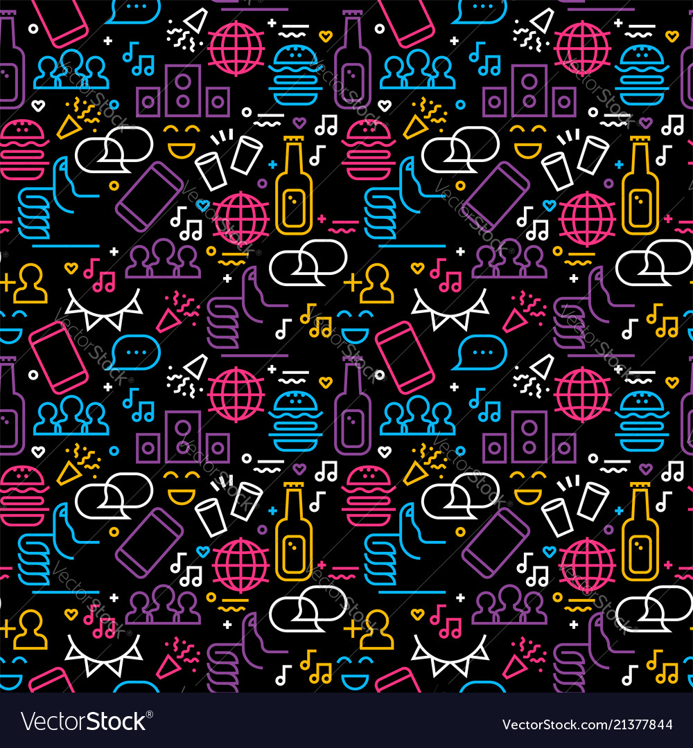 Friendship day seamless pattern friend party icons