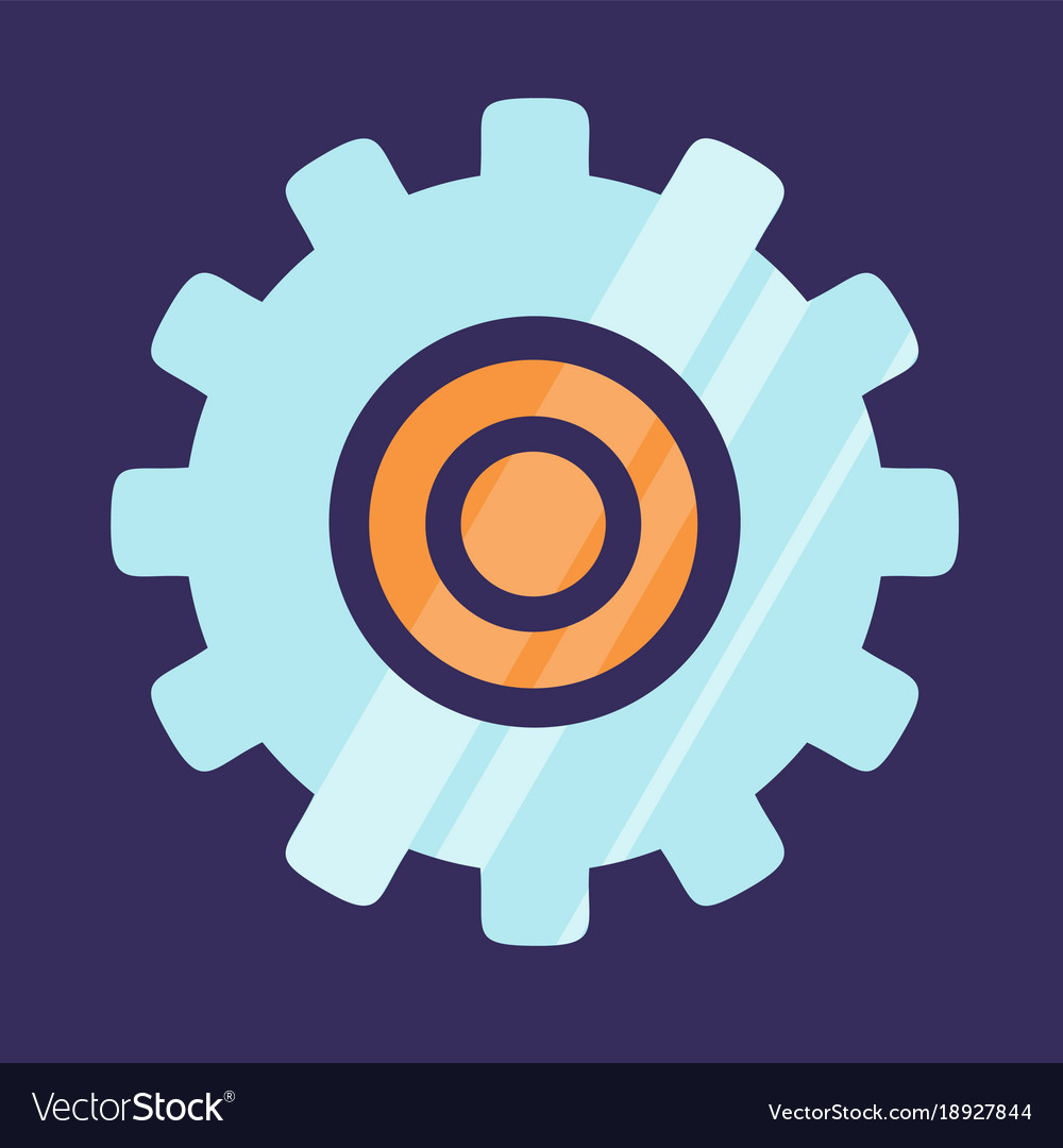 Gear icon logo design isolated on blue background