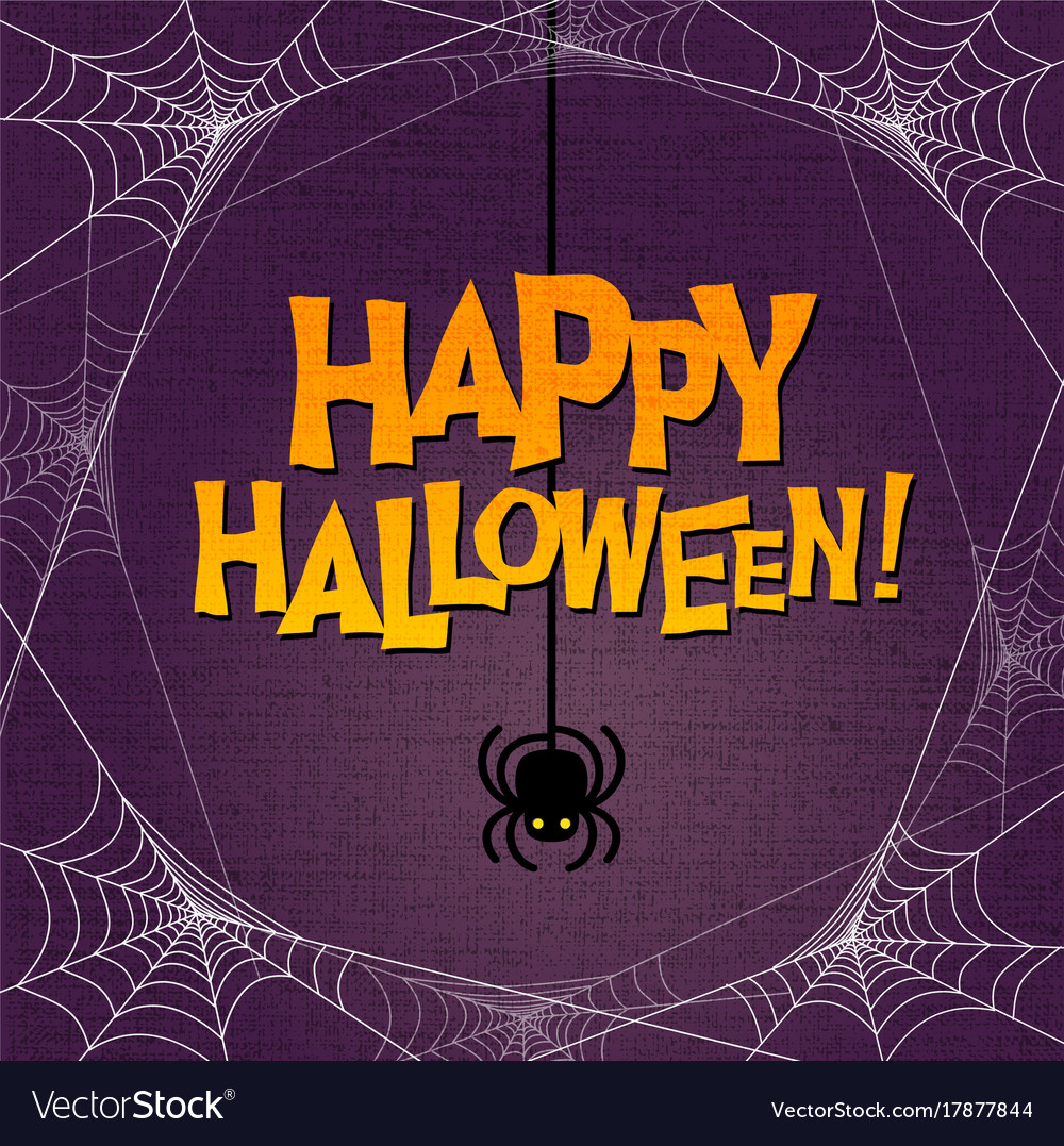 Happy halloween typography and spider web border