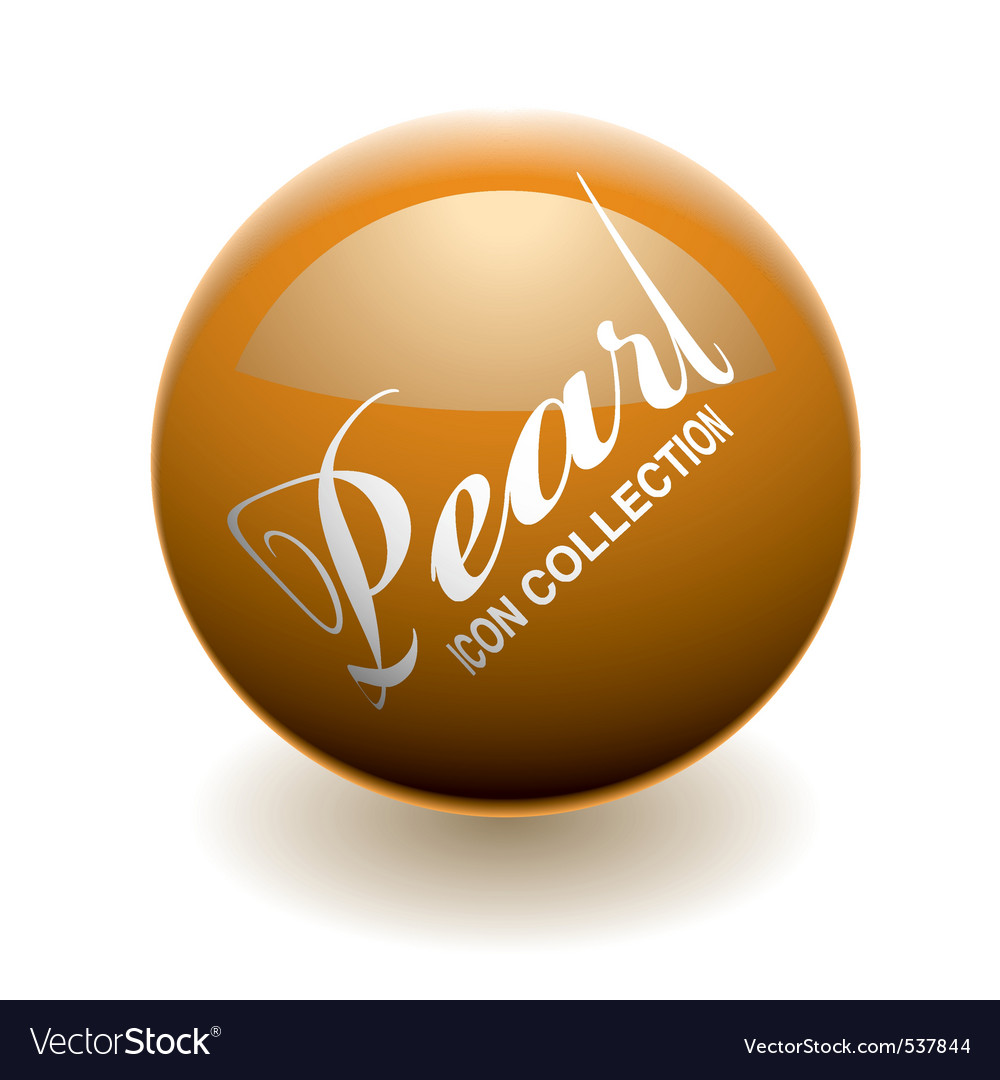 Orange pearl or marble with light reflection and s vector image