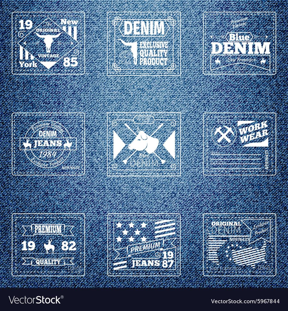 Original authentic denim jeans labels