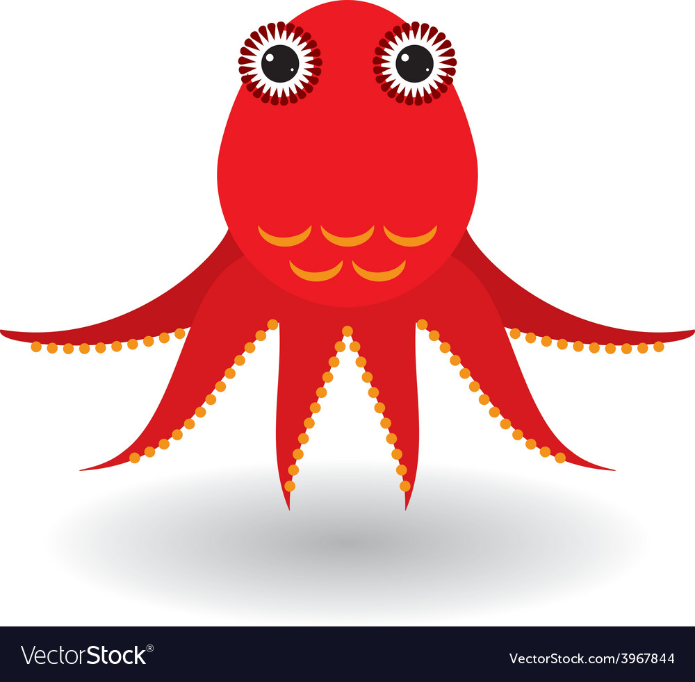 Red octopus on a white background
