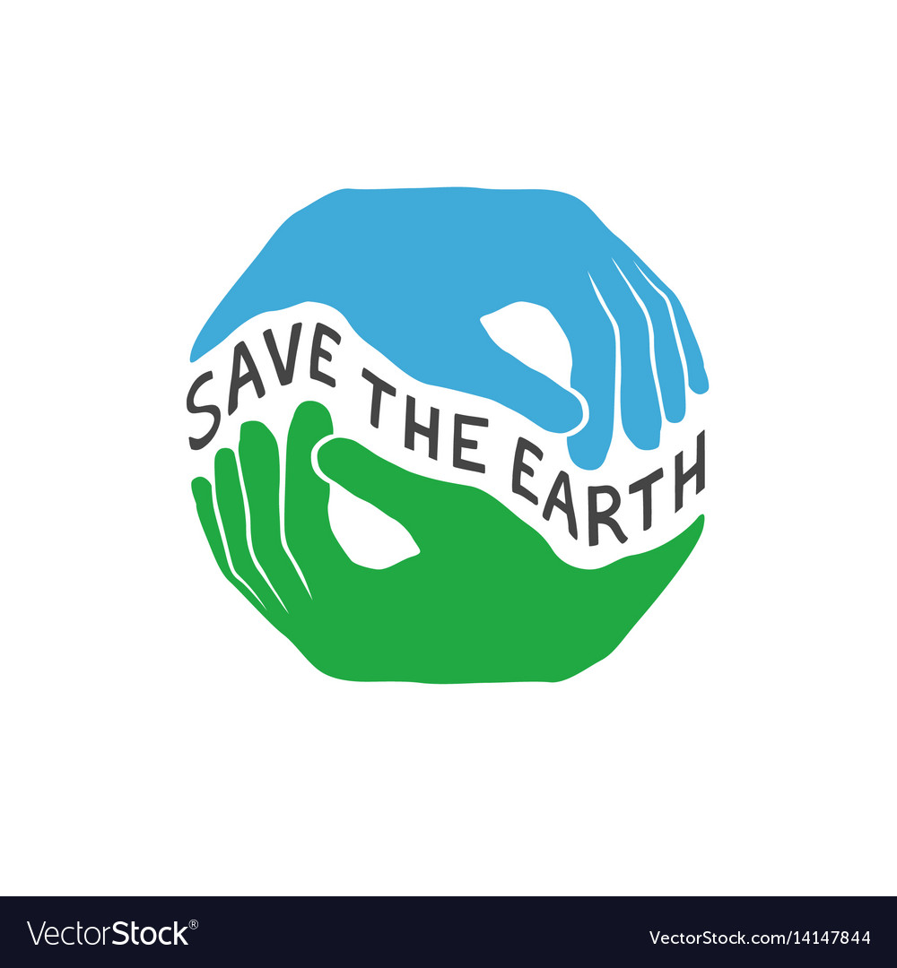 Save the earth earth day concept logo design