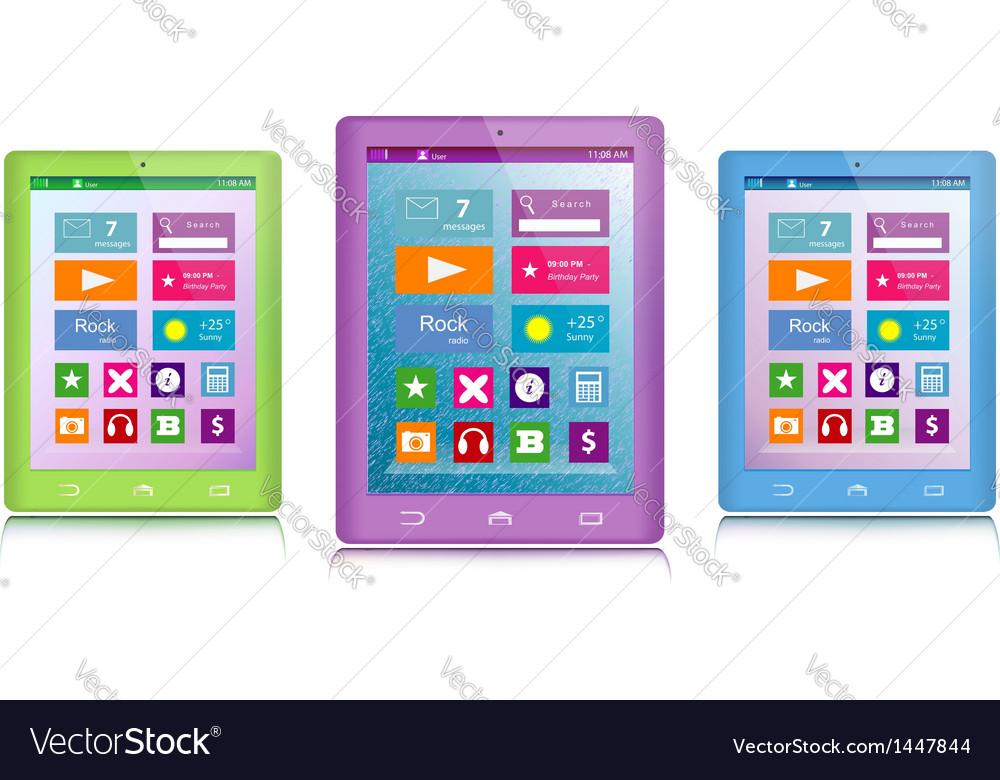 Set of color tablet computers