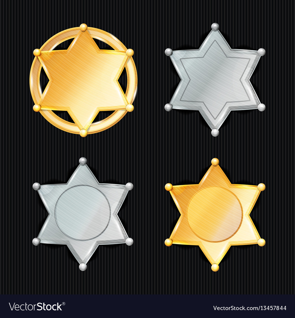 Sheriff badge star set different types vector image