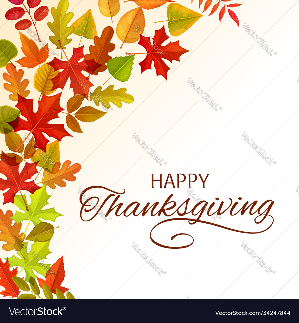 Thanksgiving day greeting card with leaves