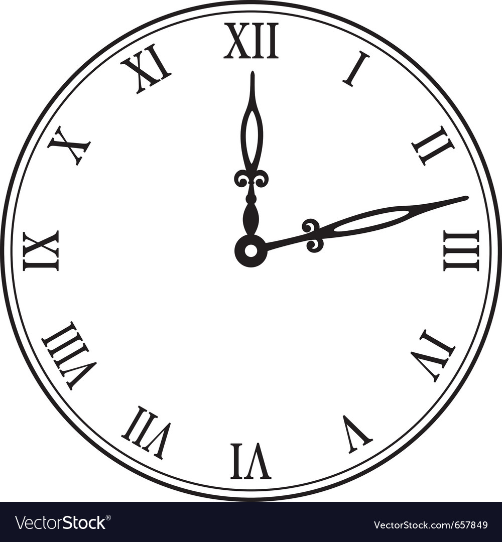 clock vector image Black wall clock Royalty Free Vector Image - VectorStock