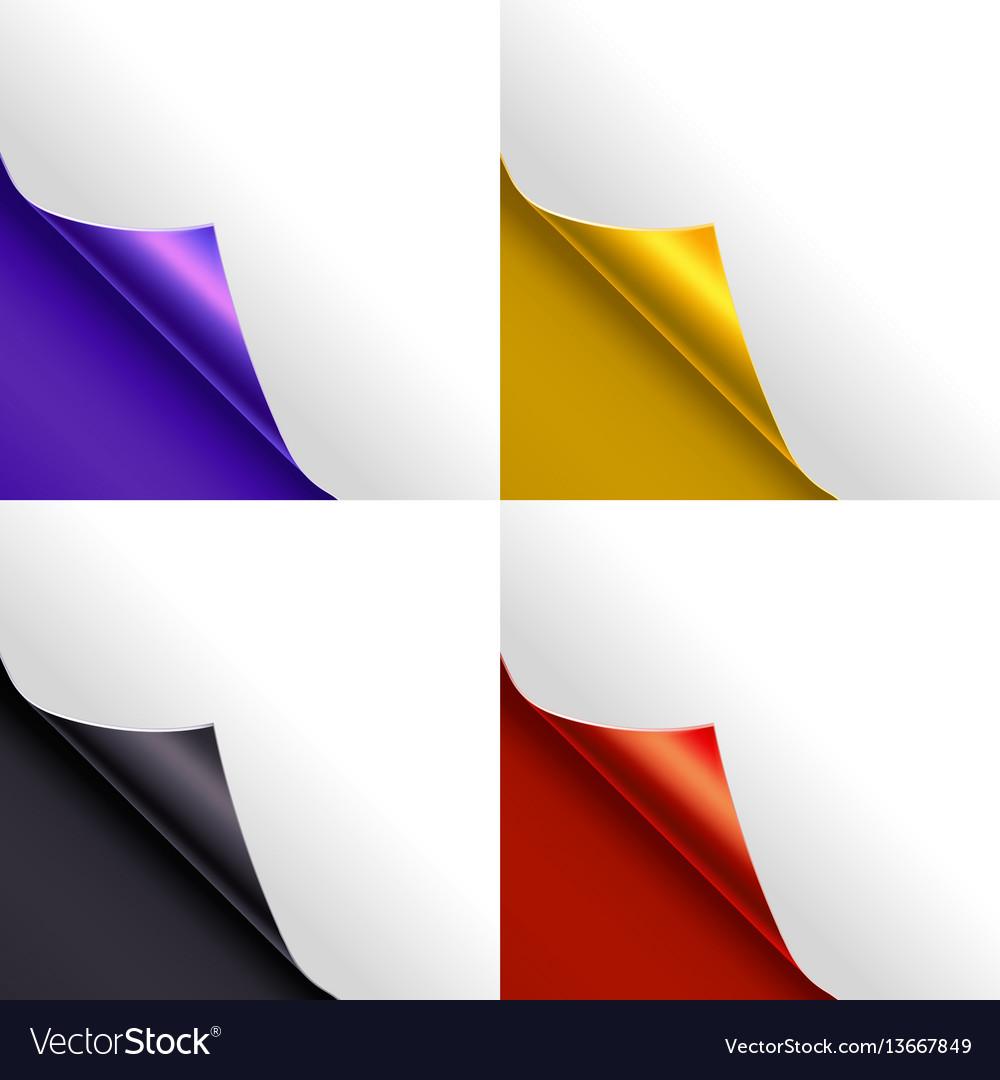 Blank paper page color corner set