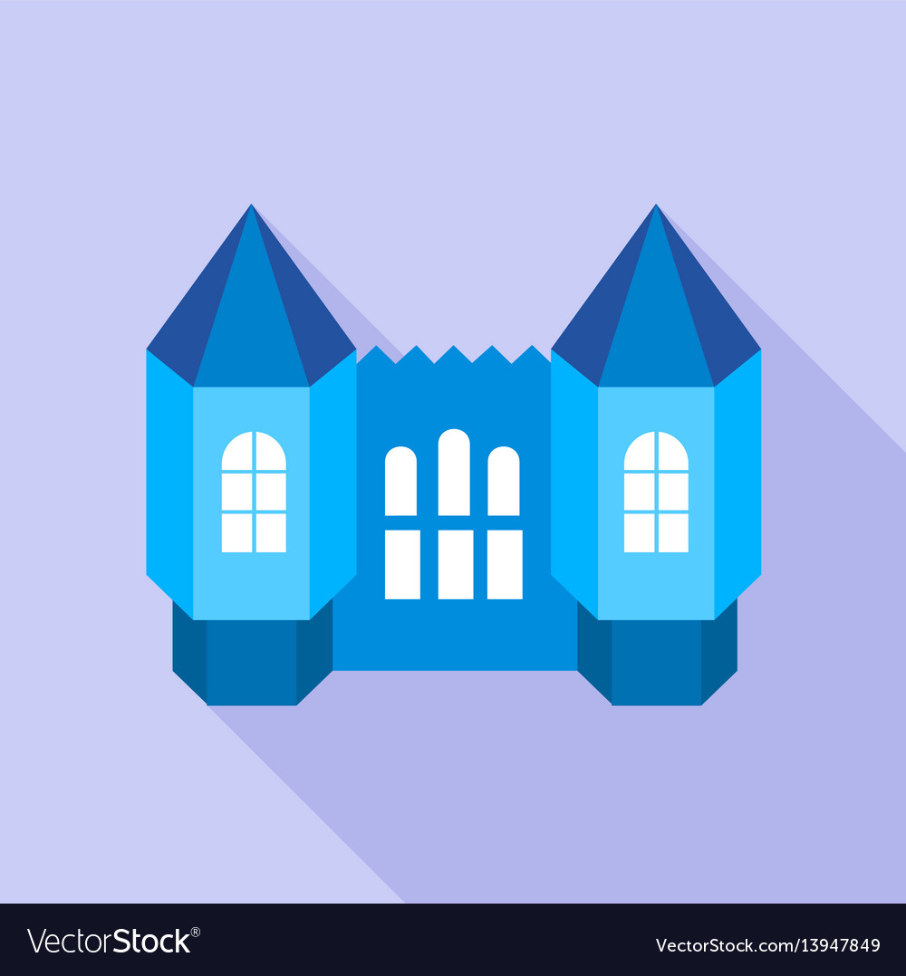Blue fortress towers icon flat style