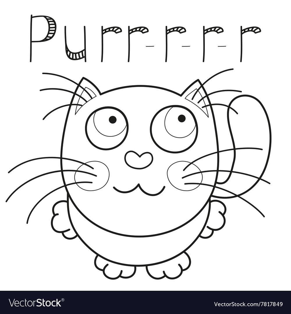 Cartoon smiling kitty caressing missed kitten