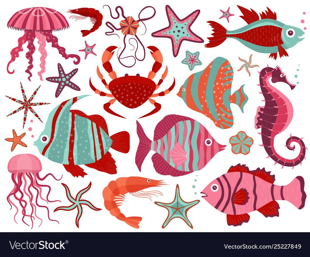 Coral reef underwater animals set