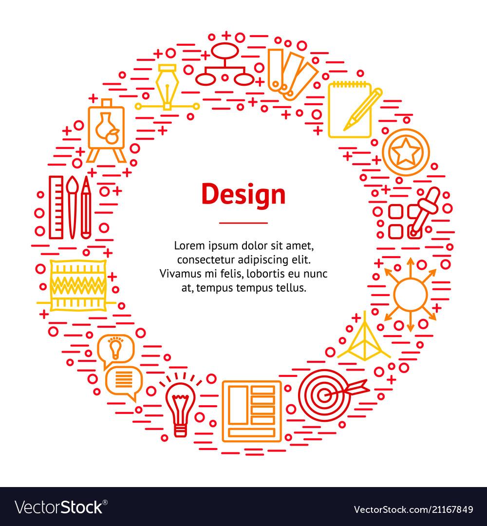 Design thinking banner card circle