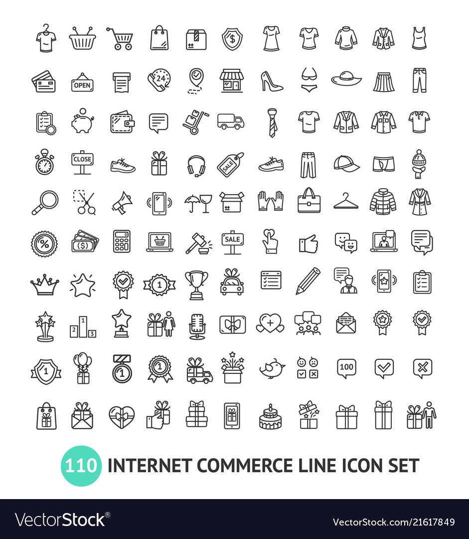 E-commerce shopping signs black thin line icon set