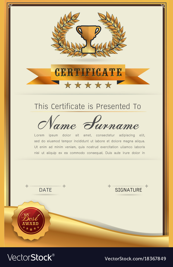 Graceful Certificate Template Royalty Free Vector Image
