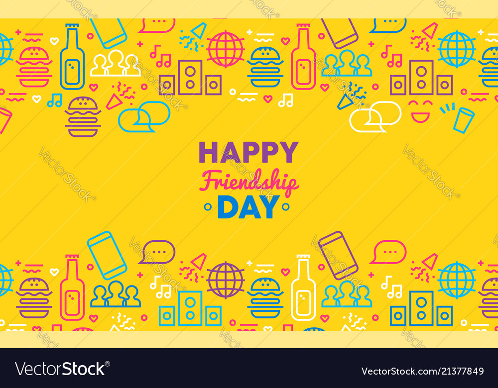 Happy friendship day greeting card with party icon happy friendship day greeting card with party icon vector image m4hsunfo