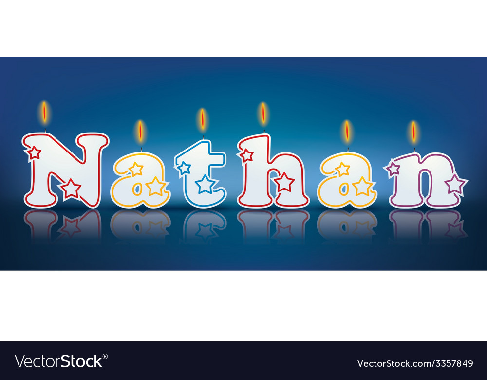 NATHAN written with burning candles vector image