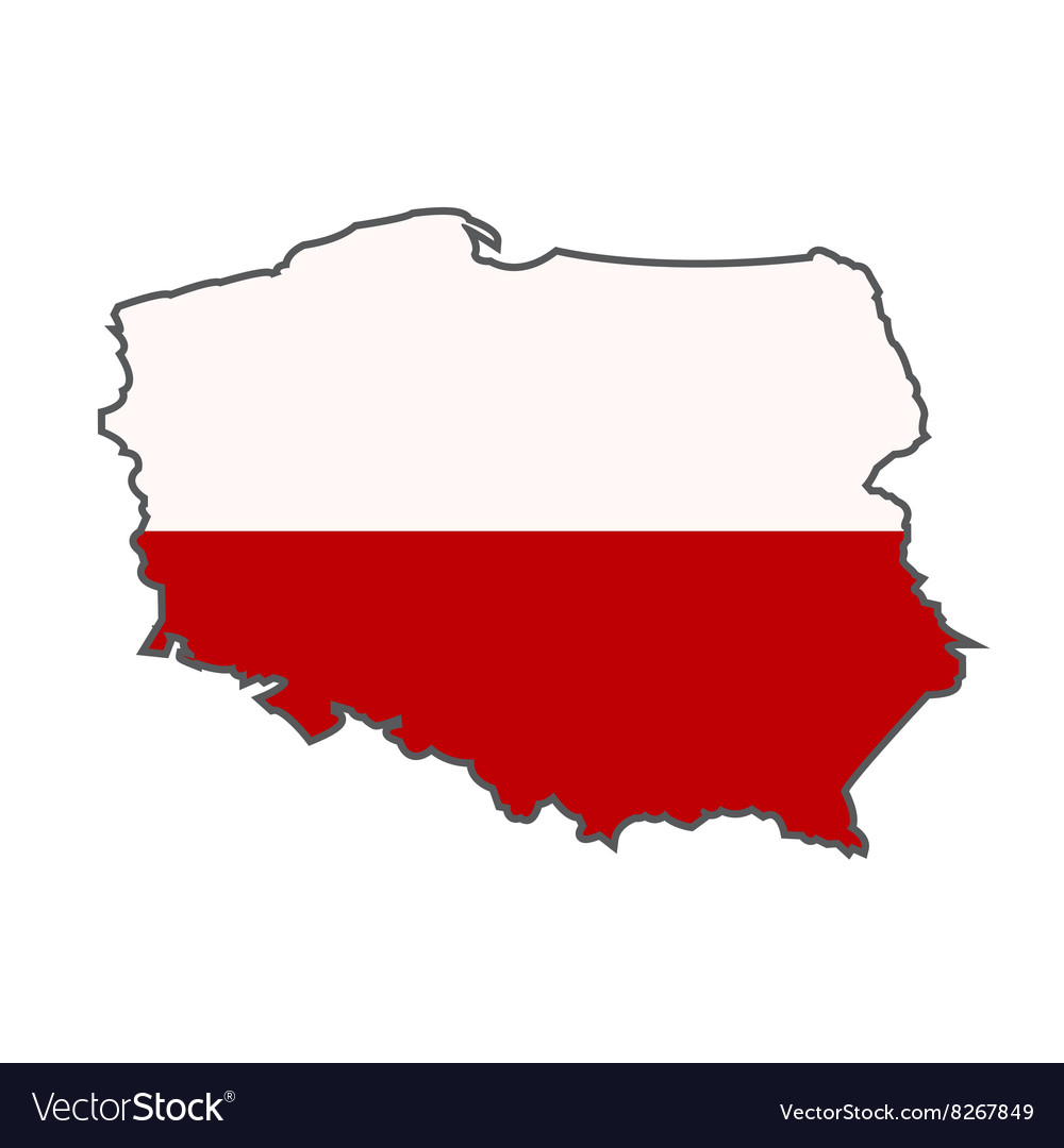 Poland Flag Map National Flag of Poland with map Royalty Free Vector Image