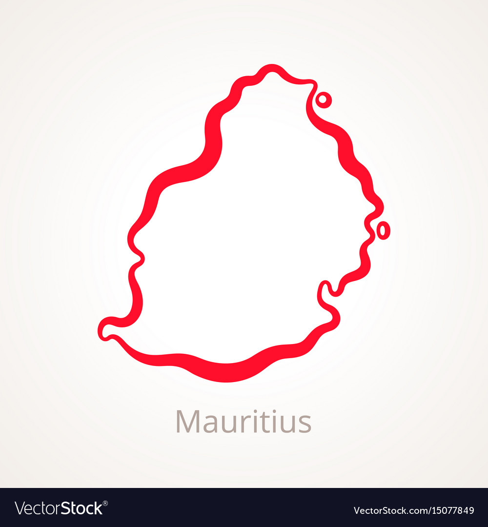 Outline map of mauritius marked with red line Vector Image