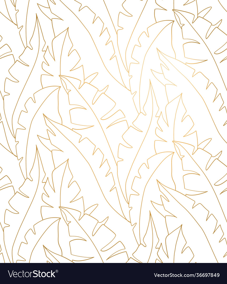 Palm leaves gold pattern leaves seamless