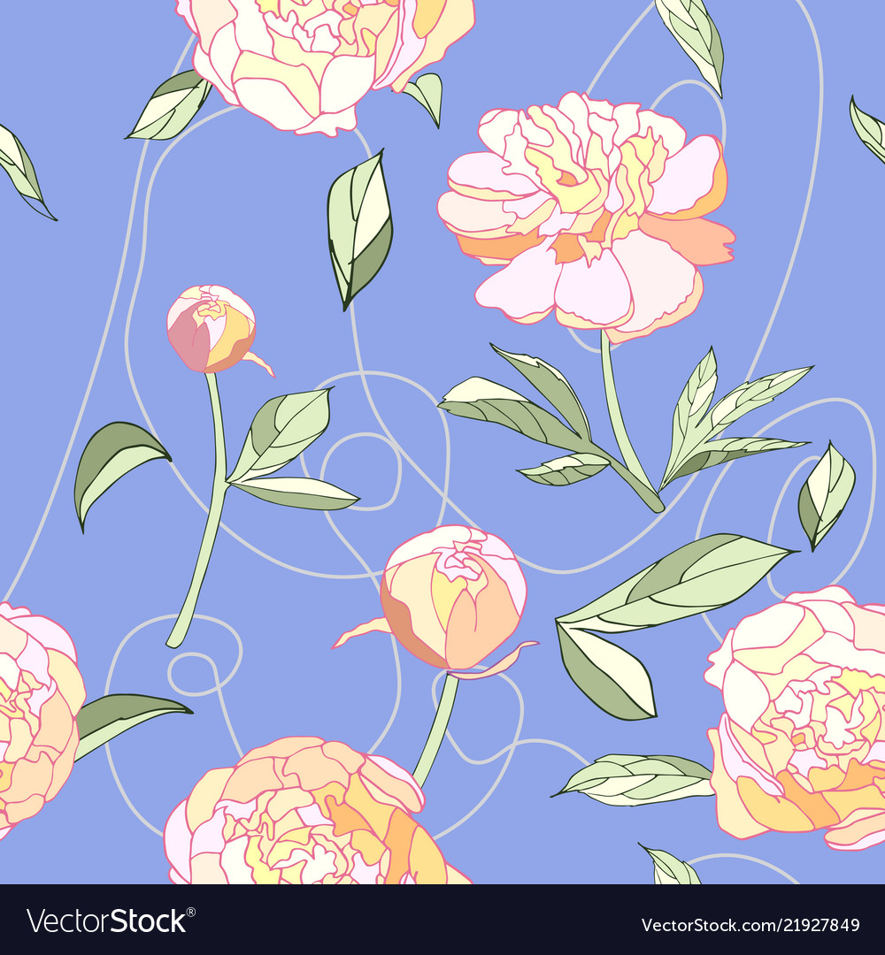 Peony floral seamless pattern pink blue