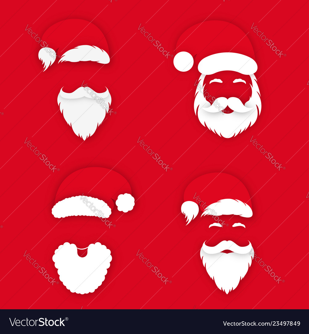 Santa claus in hat on red background set of santa