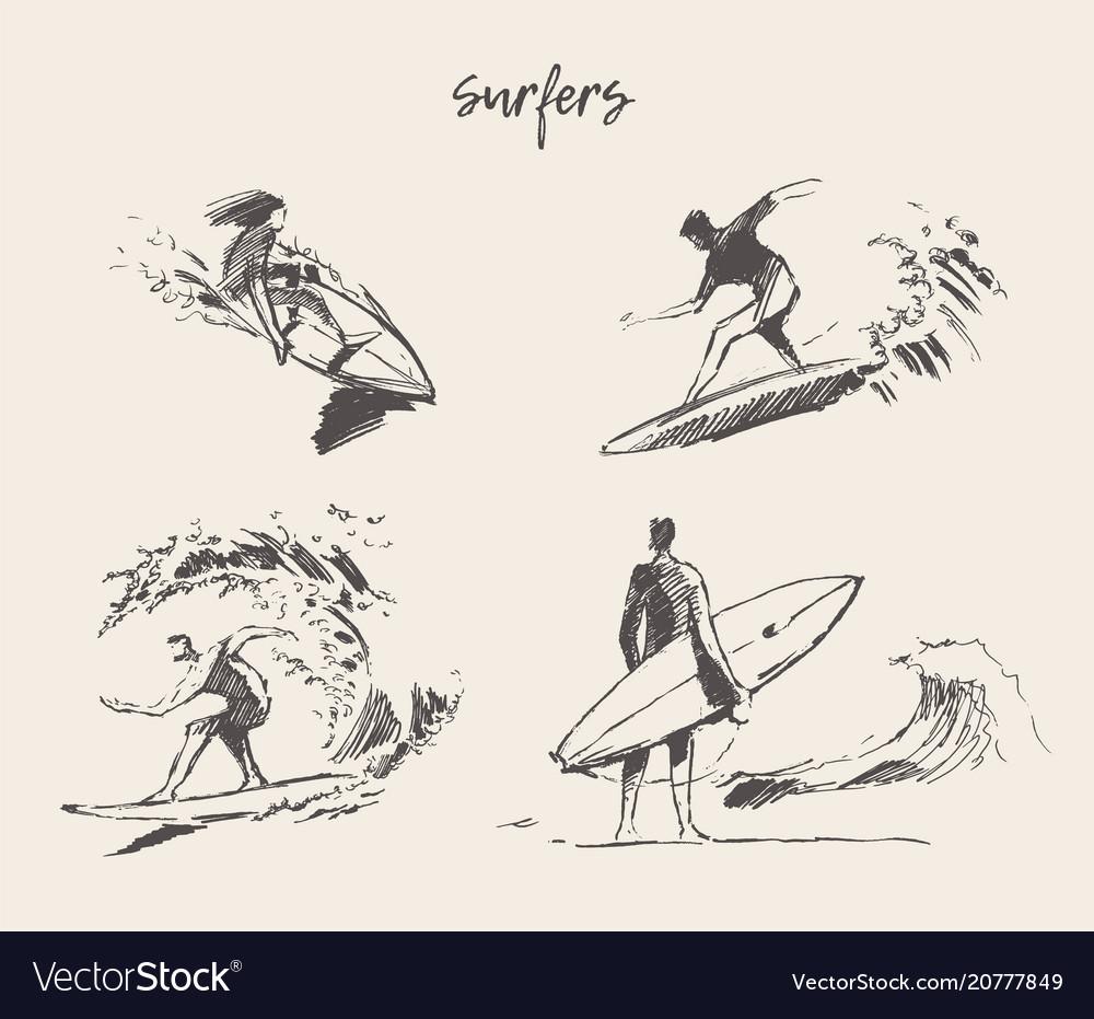 Set drawn young man beach surfboard sketch