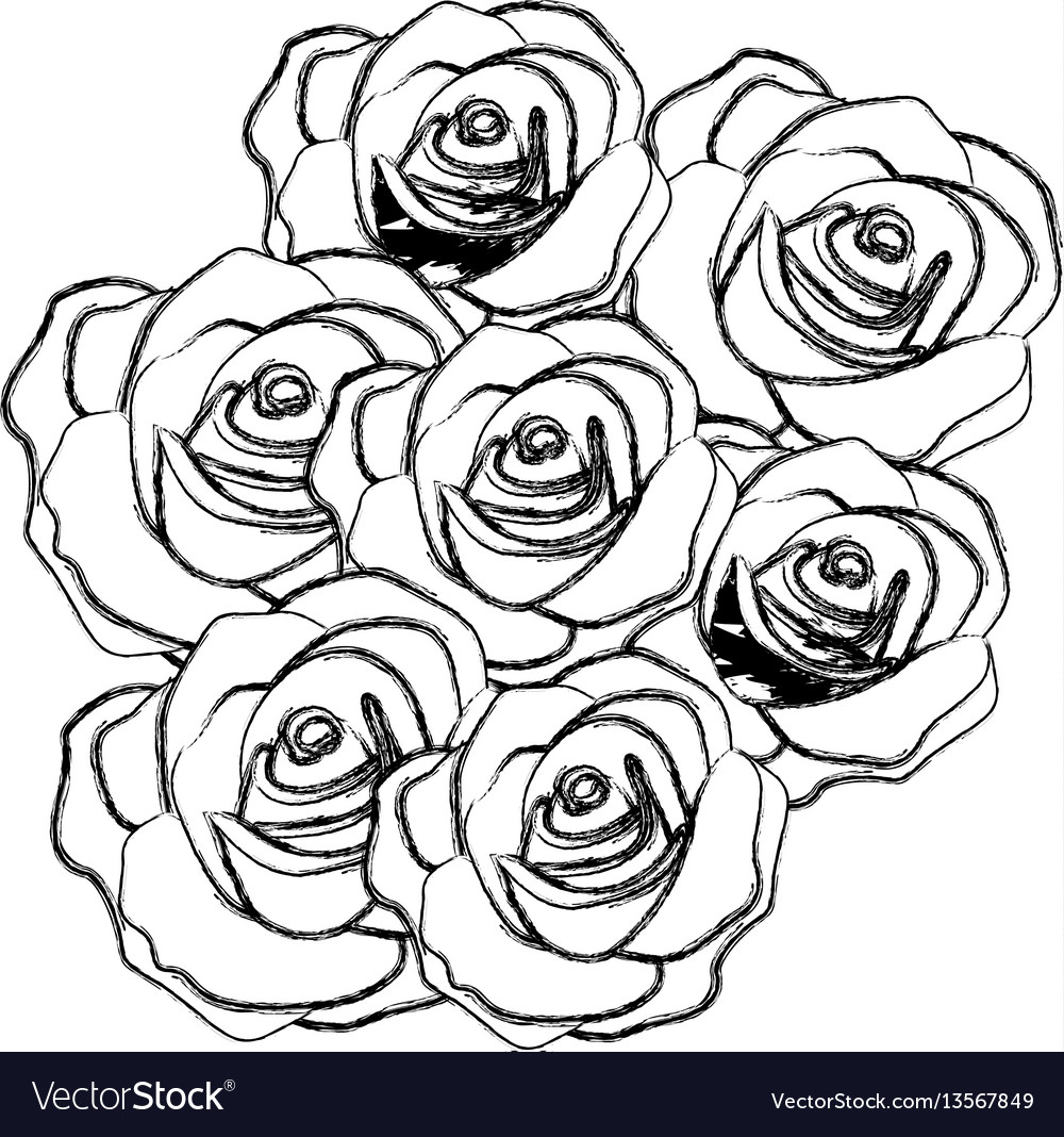 Silhouette roses plants icon