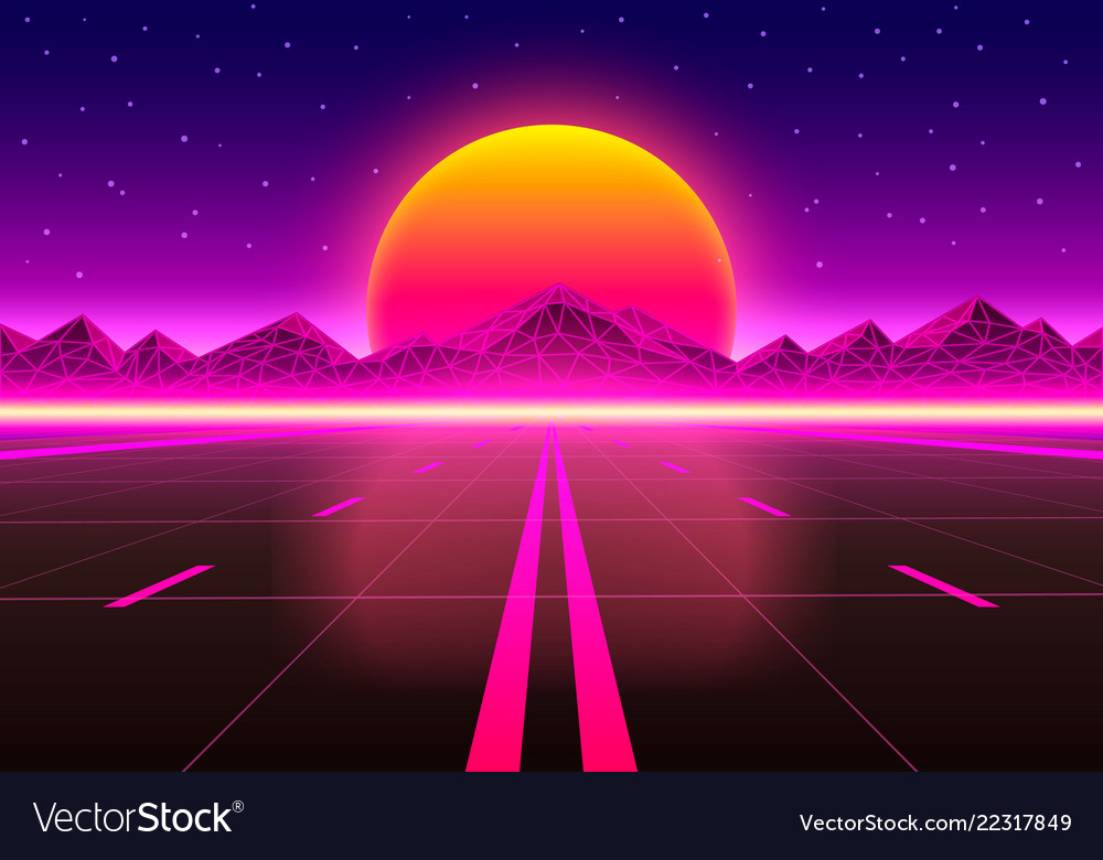 The road to infinity at sunset