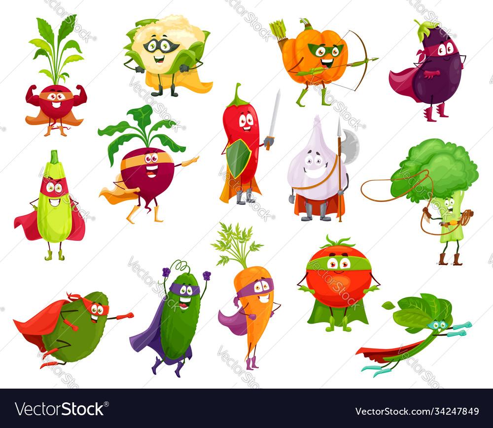 Vegetables super heroes cartoon veggies set