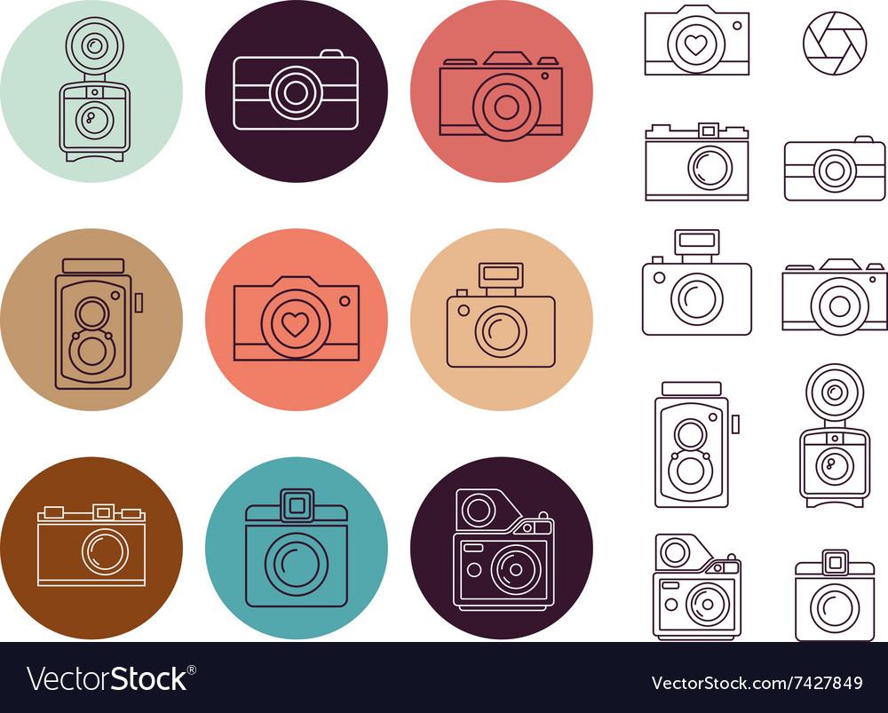 Vintage camera element icon set vector image