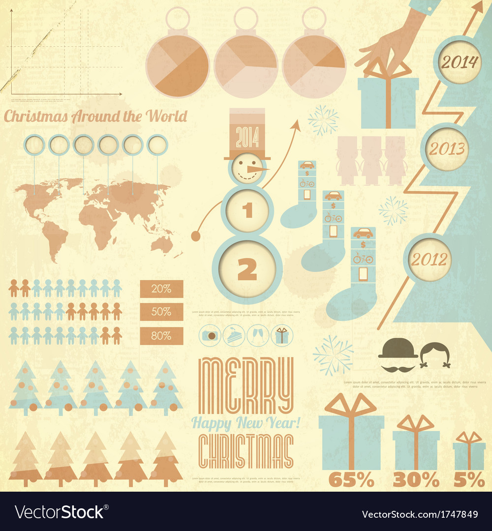 Vintage Christmas and New Year Infographic