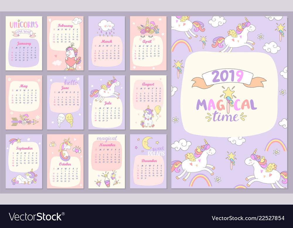 2019 magical time calendar with unicorns