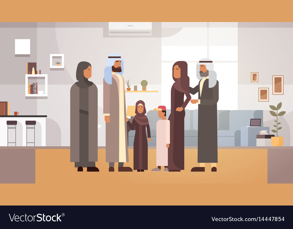 Arab family home arabic parents with children in
